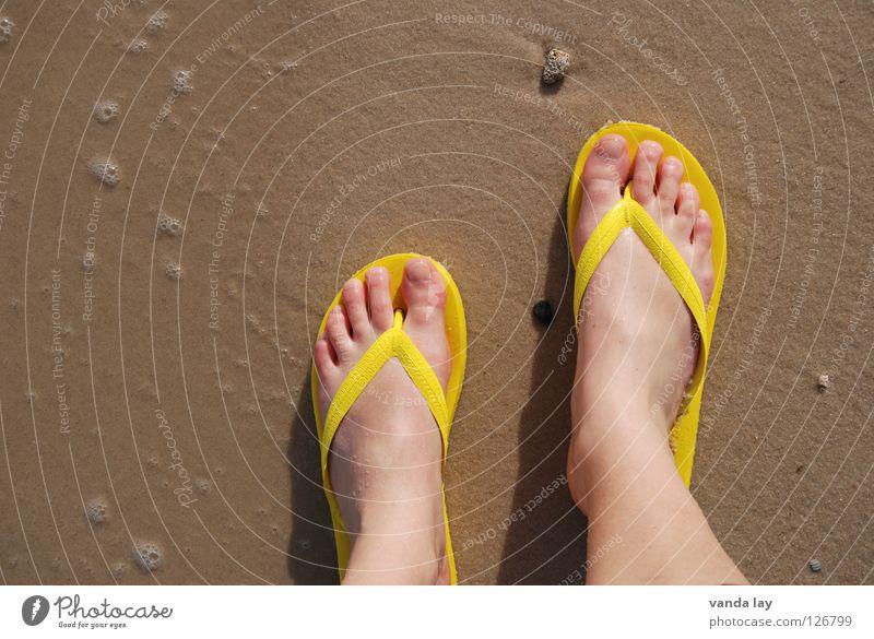 Strandläufer Flipflops Badelatschen Zehen Meer Sommer Ferien & Urlaub & Reisen gelb Schuhe Kieselsteine Vogelperspektive Frau Sommerurlaub Sommerschuh Sandale
