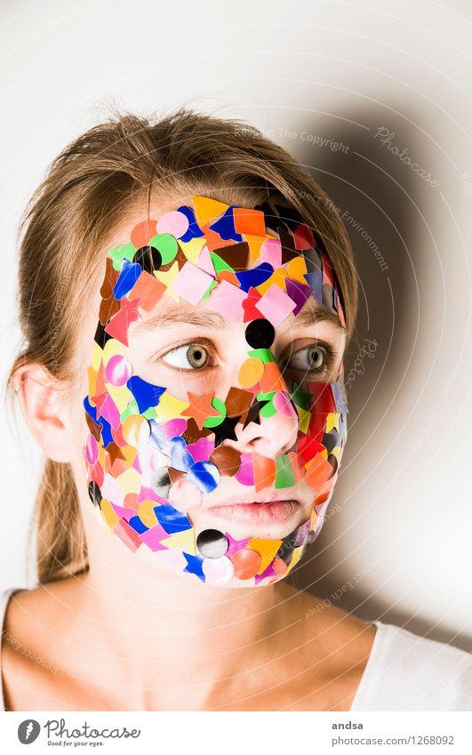 Gepunktet VIII Mensch feminin Junge Frau Jugendliche 1 18-30 Jahre Erwachsene T-Shirt Haare & Frisuren brünett langhaarig Zopf beobachten Blick braun mehrfarbig