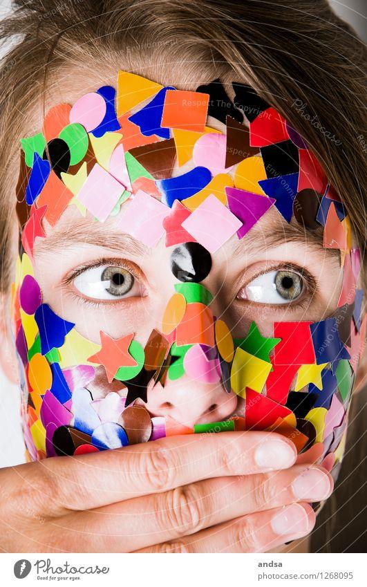 Gepunktet IV Mensch Jugendliche Junge Frau 18-30 Jahre Erwachsene feminin braun träumen beobachten Neugier Überraschung Wachsamkeit chaotisch brünett langhaarig