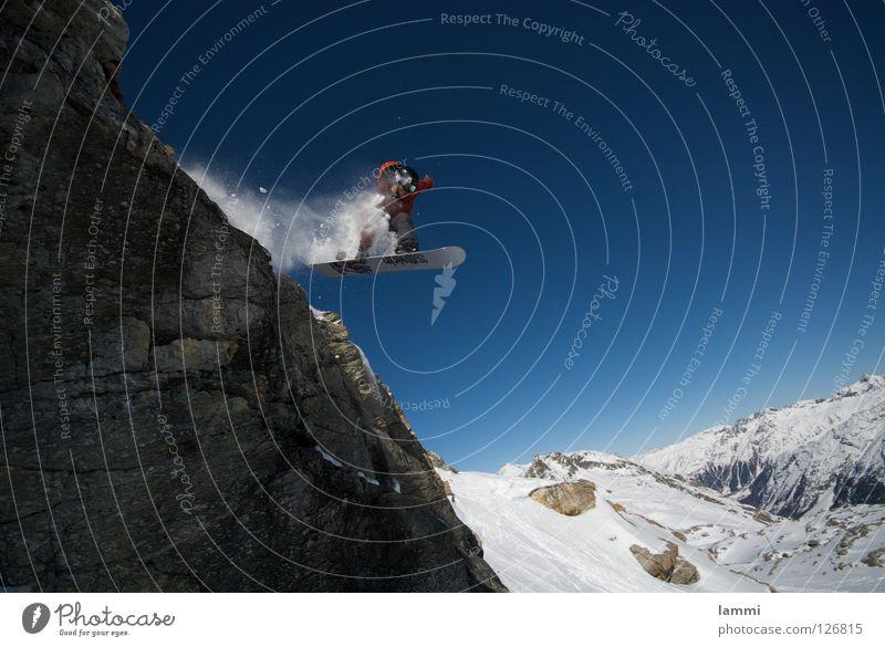 Will goes over the Rock Himmel blau weiß Freude Winter Berge u. Gebirge Schnee Hintergrundbild fliegen hell Felsen springen Wetter Geschwindigkeit Gipfel Alpen