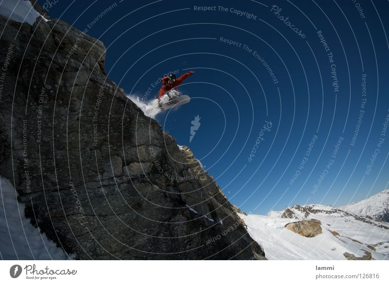 Will goes over the Rock Himmel blau weiß Freude Winter Berge u. Gebirge Schnee Hintergrundbild fliegen hell Felsen springen Wetter verrückt Geschwindigkeit hoch