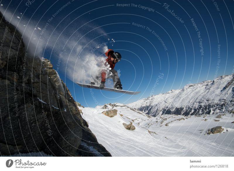 Will goes over the Rock Himmel blau weiß Freude Winter Berge u. Gebirge Schnee Hintergrundbild fliegen hell Felsen springen Wetter Geschwindigkeit hoch Gipfel
