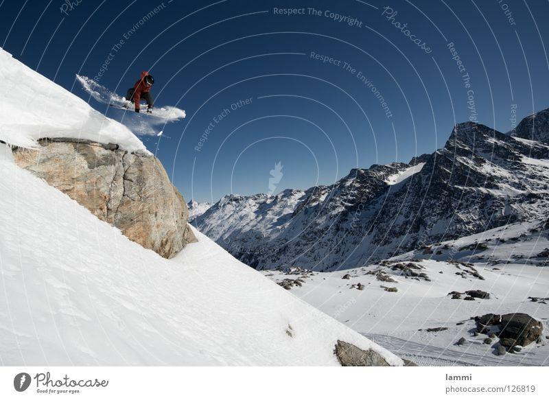 Will goes over the Rock Gipfel Gletscher Hintergrundbild springen Felsvorsprung Ausdauer weiß Schweiz Silvaplana Skitour Snowboard Spuren Tiefschnee wandern