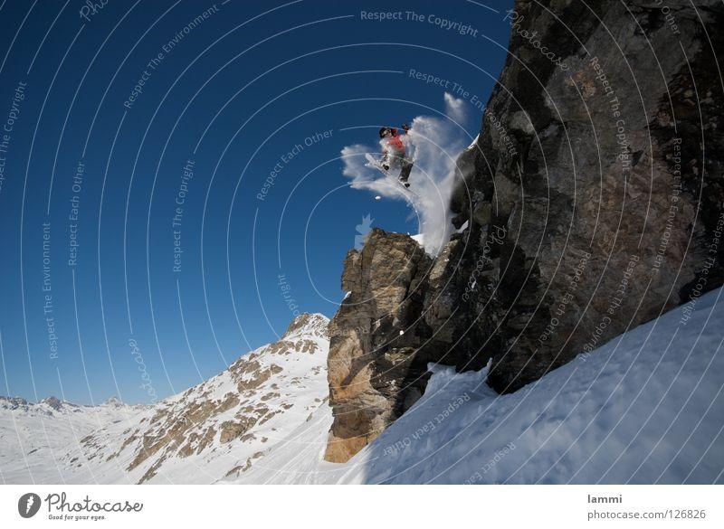Will goes over the Rock Gipfel Hintergrundbild springen Felsvorsprung weiß Schweiz Silvaplana Skitour Spuren Tiefschnee Sportveranstaltung Winter Wintersport