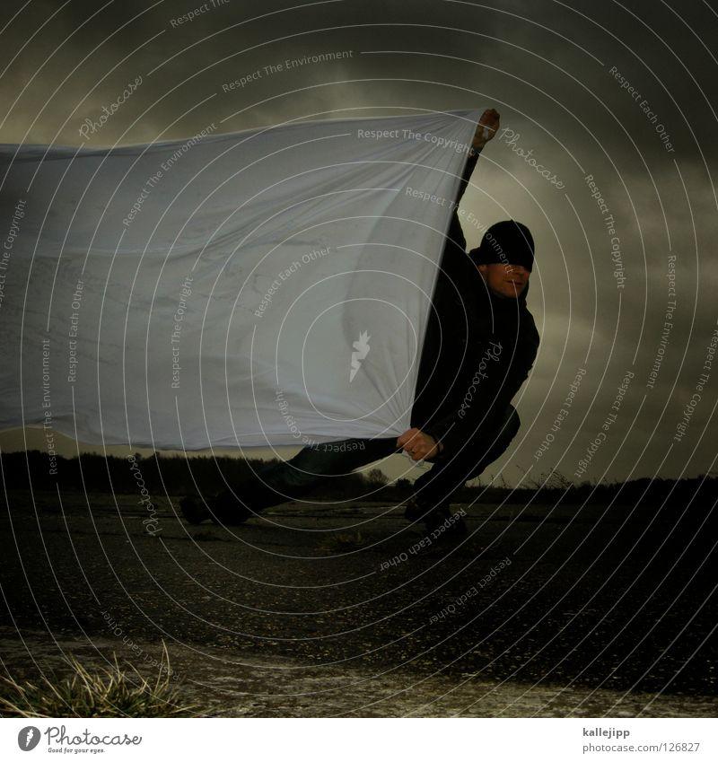 werbebanner Mensch Mann weiß Wolken Einsamkeit Landschaft Luft Regen Wetter Wind Klima Schilder & Markierungen Energiewirtschaft nass Beton Beginn