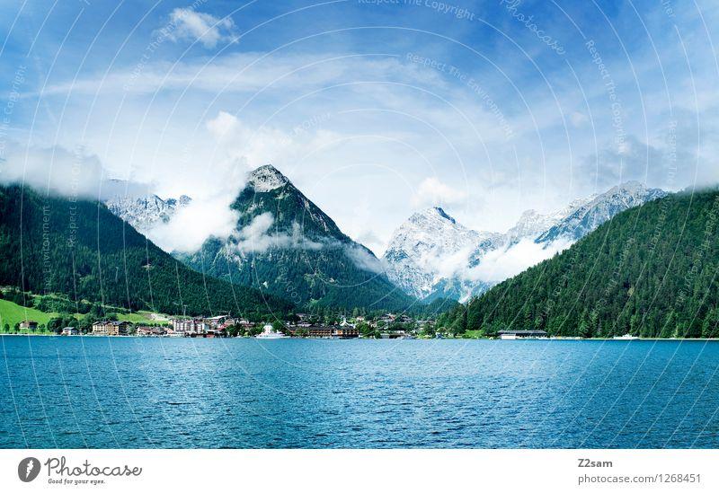 Achensee Himmel Natur Ferien & Urlaub & Reisen blau grün Sommer Erholung Landschaft Wolken Wald Berge u. Gebirge natürlich See Freizeit & Hobby frisch Idylle
