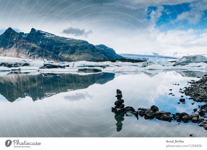 Island Ferien & Urlaub & Reisen Tourismus Ausflug Abenteuer Ferne Sightseeing Expedition Natur Landschaft Himmel Wolken Schönes Wetter Eis Frost Schnee Hügel