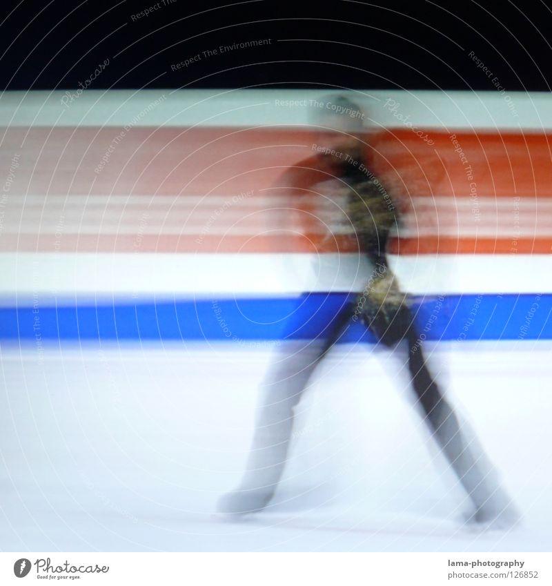 Slide [PIXELS IN MOTION] Mensch weiß schwarz Bewegung Kunst Eis elegant laufen Geschwindigkeit Streifen fahren Symbole & Metaphern Rasen Fernseher Filmindustrie