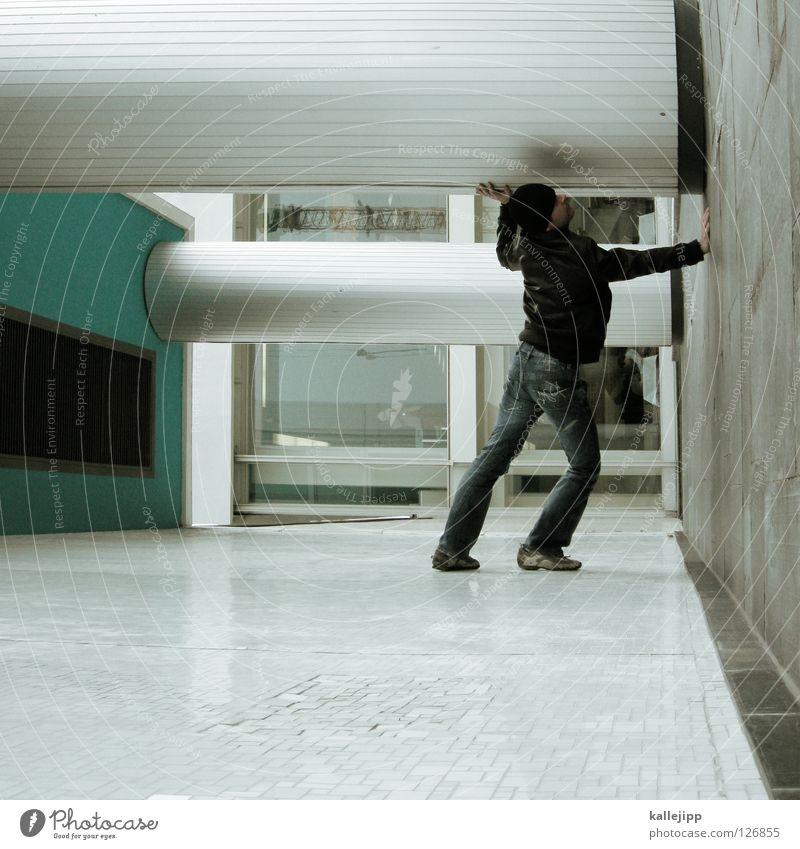 i´ll be waiting Mann Silhouette Dieb Krimineller Rampe Laderampe Fußgänger Schacht Tunnel Untergrund Ausbruch Flucht umfallen Fenster Parkhaus Licht Geometrie