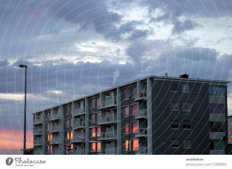 Kitschige Fensterdeko Himmel Natur Ferien & Urlaub & Reisen Sommer Sonne Meer Wolken Haus Ferne Strand Küste Freiheit Horizont Fassade Tourismus