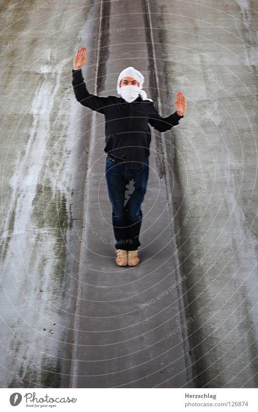 Stand Mann 4 Mensch weiß Freude Kommunizieren stehen Reihe Parkdeck Photo-Shooting Turban