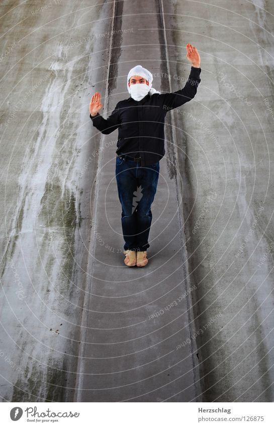 Stand Mann 5 (Complete) Mensch weiß Freude Kommunizieren stehen Reihe Parkdeck Photo-Shooting Turban