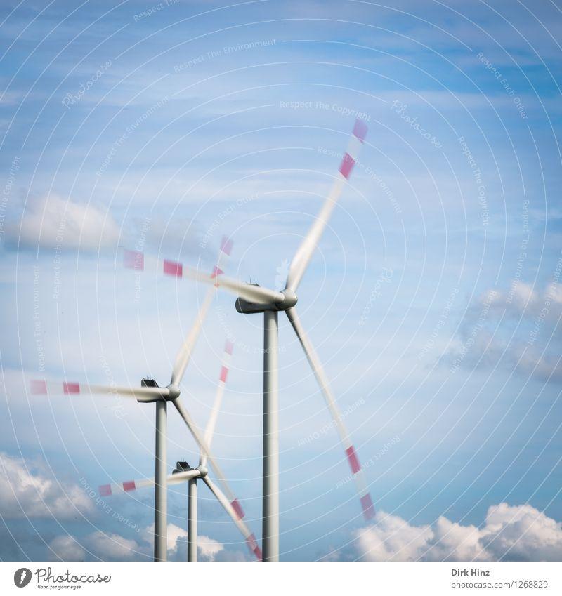 *300* Wolken Bewegung Küste Energiewirtschaft Wind Energie Technik & Technologie Zukunft Elektrizität 3 Windkraftanlage Nordsee Umweltschutz Umweltverschmutzung Blauer Himmel nordisch