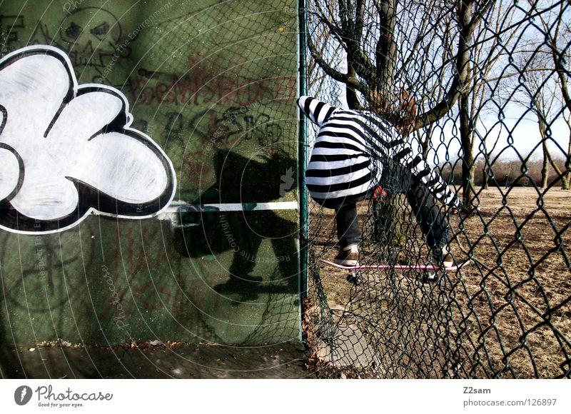 ollie outside Aktion Skateboarding Zufriedenheit gestreift Baum Weitwinkel Jugendliche Sport fahren springen Trick Zaun Wand Stil Mitte Holzbrett Mensch