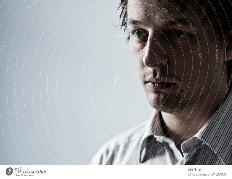 Leere Mann schön Gesicht ruhig Auge Kopf Denken Kraft Nase leer Sicherheit Lippen Student Vertrauen Konzentration Bart