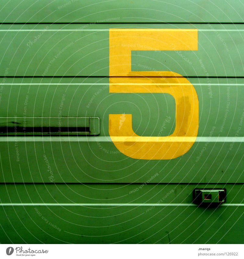 5 More Days grün gelb Metall Linie Schriftzeichen Ziffern & Zahlen 5 Typographie Oberfläche Blech Symbole & Metaphern grell knallig Aufschrift leuchtende Farben