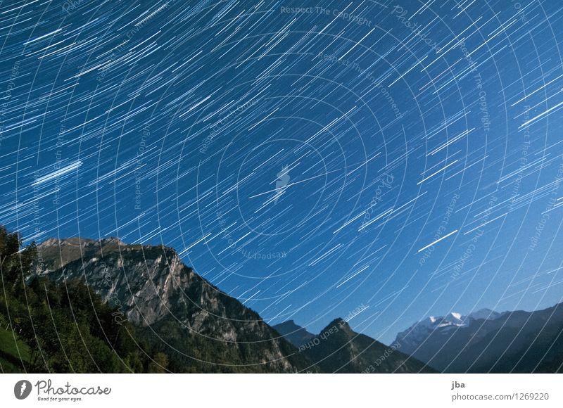 Kiental bei Nacht Himmel Natur Sommer Landschaft ruhig Berge u. Gebirge Bewegung Herbst Felsen Stern Schönes Wetter Gipfel Alpen harmonisch Schweiz drehen