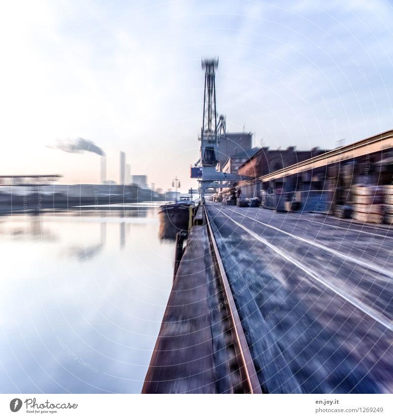 immer schneller Himmel Stadt blau Business Arbeit & Erwerbstätigkeit Energiewirtschaft Wachstum Energie Geschwindigkeit Zukunft Industrie Güterverkehr & Logistik Fluss Hafen Wirtschaft Stress