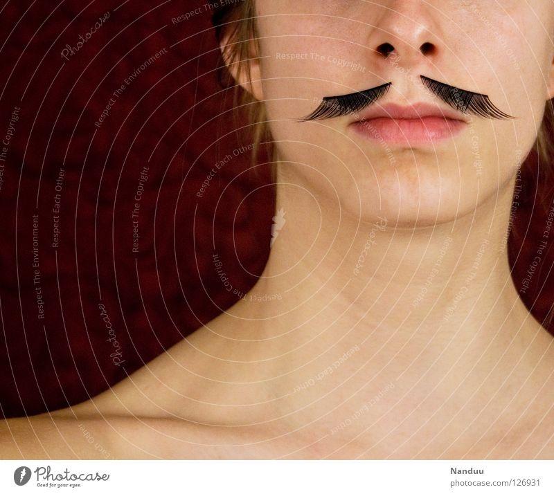 Inkognito Frau Mensch Jugendliche Mund lustig Maske Karneval Bart verstecken skurril Schulter Hals seltsam Wimpern Tarnung rutschen