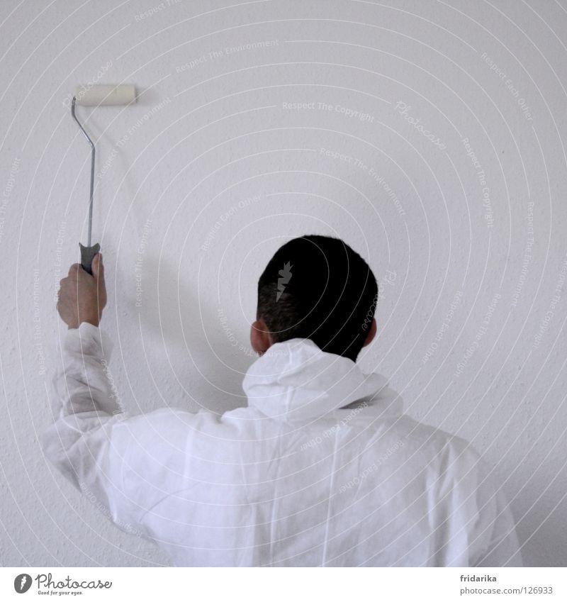 streichlust Mensch Mann Hand weiß Farbe Arbeit & Erwerbstätigkeit Wand Erwachsene Arme Wohnung Rücken Beginn neu Zukunft Ziel Wandel & Veränderung