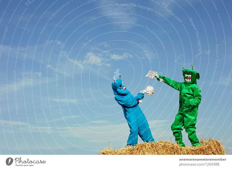 ALTER BÄÄÄM! blau grün Freude Spielen Kunst ästhetisch Konflikt & Streit kämpfen Kunstwerk Karnevalskostüm Gegenteil Monster Kampfsport verkleiden spaßig Pistole