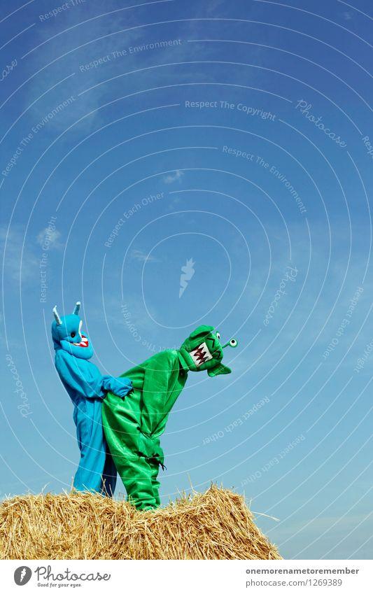durchgeknallt II blau grün Kunst ästhetisch Sex Lebewesen Körperhaltung Kunstwerk Sexualität Stroh Monster Öffentlich dominant Außerirdischer Fortpflanzung