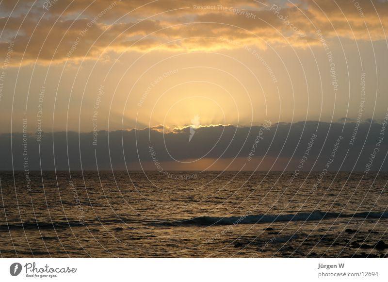 Sonnenuntergang Wolken Meer Licht Spanien Maspalomas Gran Canaria Europa clouds sea sun spain
