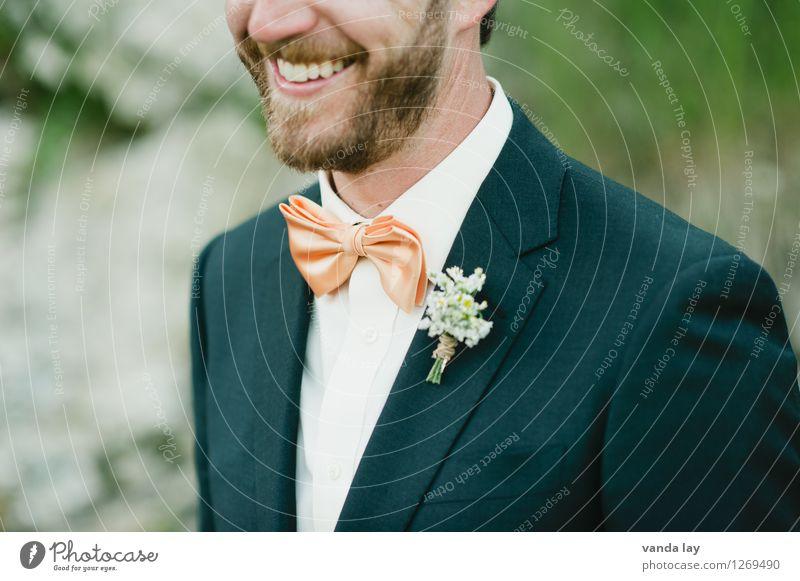Bräutigam Lifestyle elegant Stil Freude Feste & Feiern Hochzeit Geburtstag Taufe Mensch maskulin Mann Erwachsene Mund Zähne 1 18-30 Jahre Jugendliche