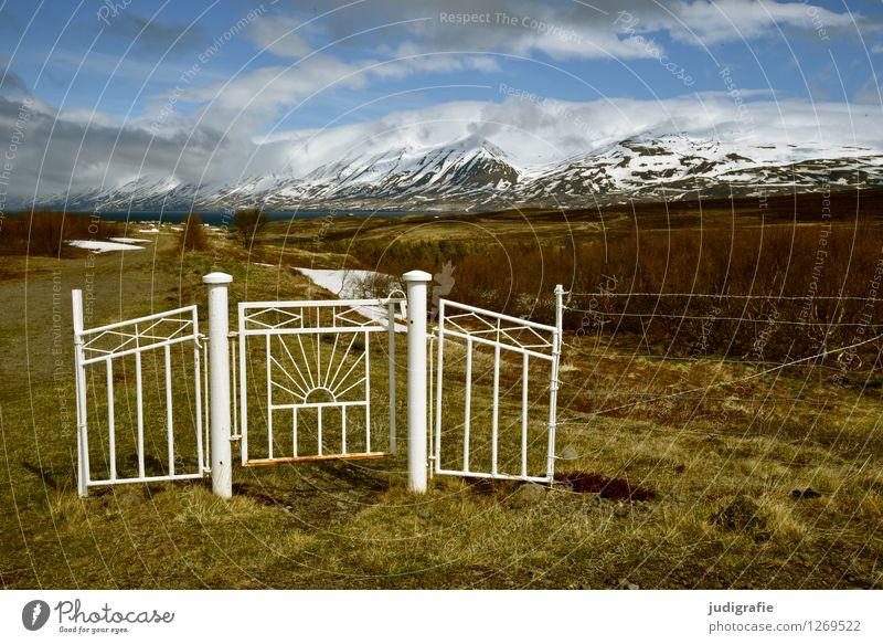 Island Umwelt Natur Landschaft Himmel Wolken Klima Wetter Eis Frost Hügel Berge u. Gebirge Gipfel Schneebedeckte Gipfel Tor kalt natürlich wild Beginn