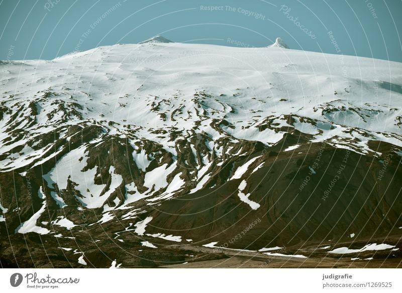 Island Umwelt Natur Landschaft Urelemente Klima Wetter Eis Frost Schnee Berge u. Gebirge Gipfel Schneebedeckte Gipfel Gletscher Vulkan Snæfellsnes dick