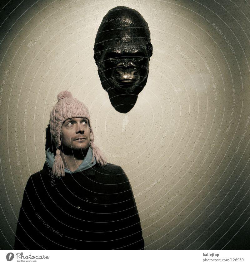 me and my monkey Mensch Mann Tier Gefühle Kopf Arbeit & Erwerbstätigkeit Kreativität Idee Bildung Statue Gedanke selbstbewußt Verschiedenheit Gehirn u. Nerven Affen Humor