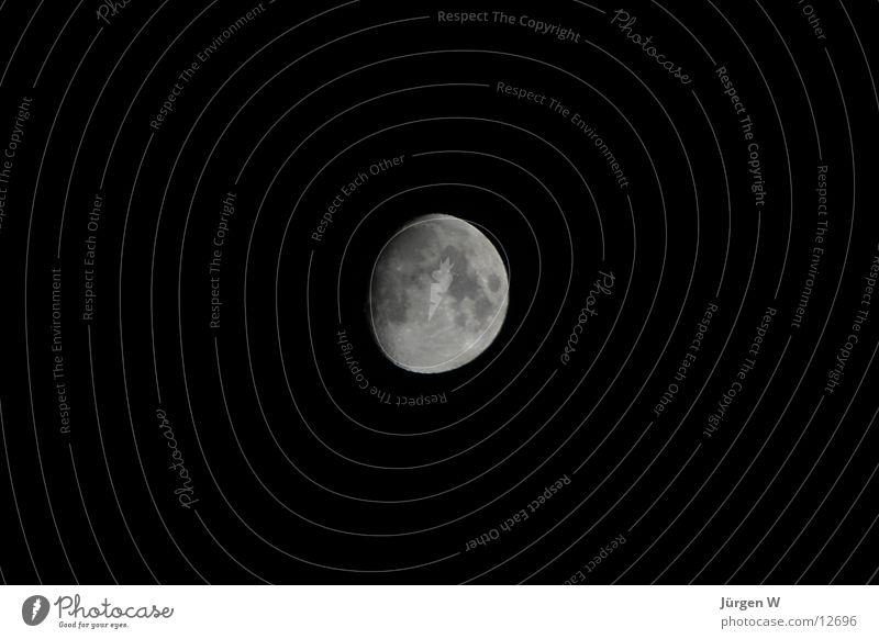 3/4 Mond schwarz dunkel Vulkankrater