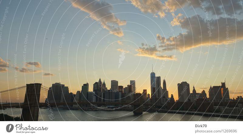 Die ganze Skyline Himmel Ferien & Urlaub & Reisen Stadt Sommer Wolken Ferne Business Tourismus Hochhaus Zukunft Schönes Wetter Brücke Fluss Mitte Wahrzeichen