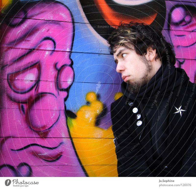 Hab keine Angst, kleiner Blubbl Mann Erwachsene Graffiti Wand Gefühle 18-30 Jahre Kommunizieren Bart Schüchternheit Monster trösten Mitgefühl unsicher