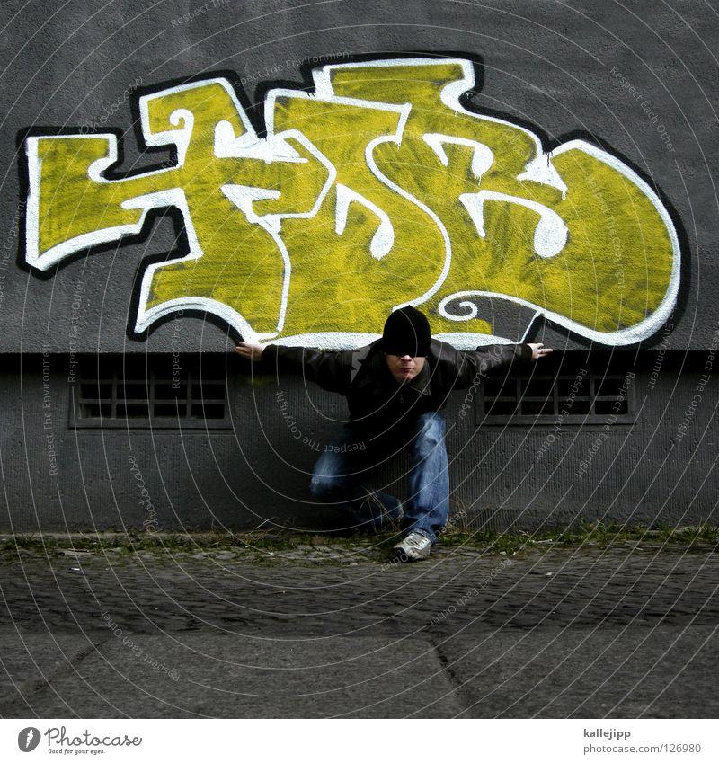 flattermann Haus Straße Graffiti Wand Bewegung Kunst Zufriedenheit fliegen Brand Schriftzeichen Lifestyle Zeichen geheimnisvoll Falte Theaterschauspiel Mütze