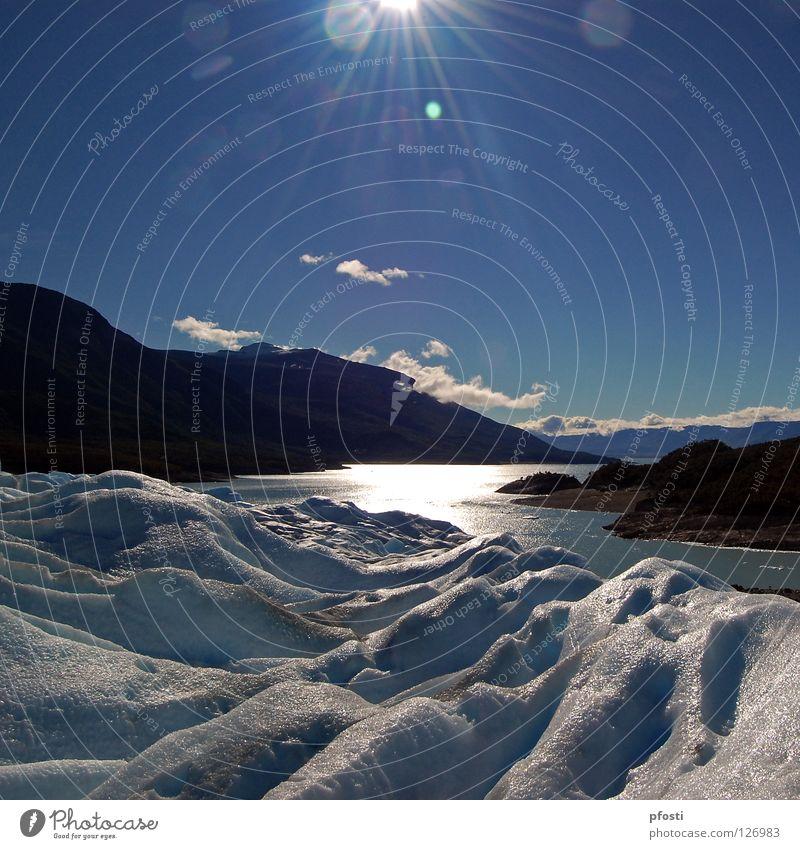 ¡Esto es un paraíso¡ Sonne Sonnenstrahlen Strahlung Gegenlicht Licht Morgen Wolken Wellen See Meer Küste Gletscher Wildnis Sommer Argentinien