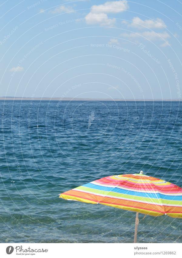Schirmherrschaft Ferien & Urlaub & Reisen Tourismus Ferne Freiheit Sommer Sommerurlaub Sonne Sonnenbad Meer Luft Wasser Wolken Horizont blau mehrfarbig Farbfoto