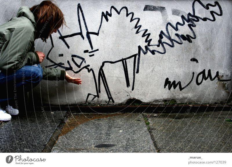 MIAU Dresden Neustadt Bürgersteig Fahrradweg Straßenecke Wand Haus Gebäude schlechtes Wetter Nieselregen Sturm nass feucht kalt Mädchen Frau Katze Tier