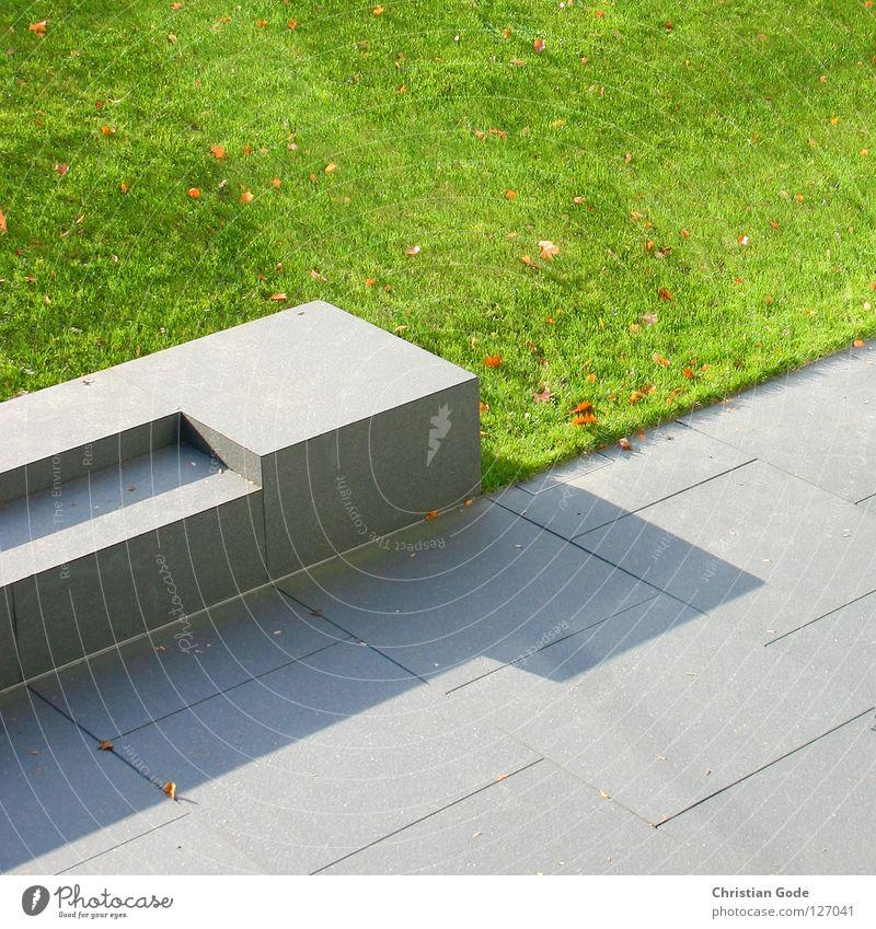 Hämorrhoidenanzuchtstation Park Sommer Wiese Berghang Kunst grün grau Nachmittag Besucher Sitzgelegenheit Steinbank Parkbank Steinplatten Blatt braun diagonal