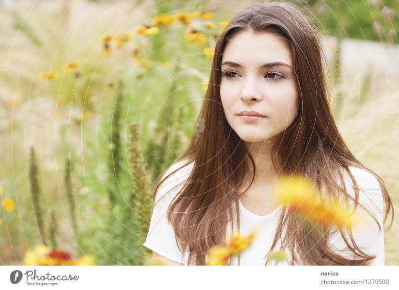 Stella VI Mensch Natur Jugendliche Pflanze schön Sommer Junge Frau Blume 18-30 Jahre Erwachsene Umwelt Gras feminin Denken Garten Haare & Frisuren