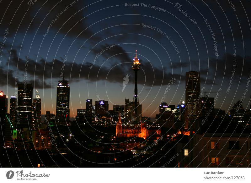 Sydney City Skyline Himmel Stadt Freude Ferien & Urlaub & Reisen Haus Wolken dunkel Erholung Freiheit Romantik Frieden Reichtum Australien Nachtaufnahme