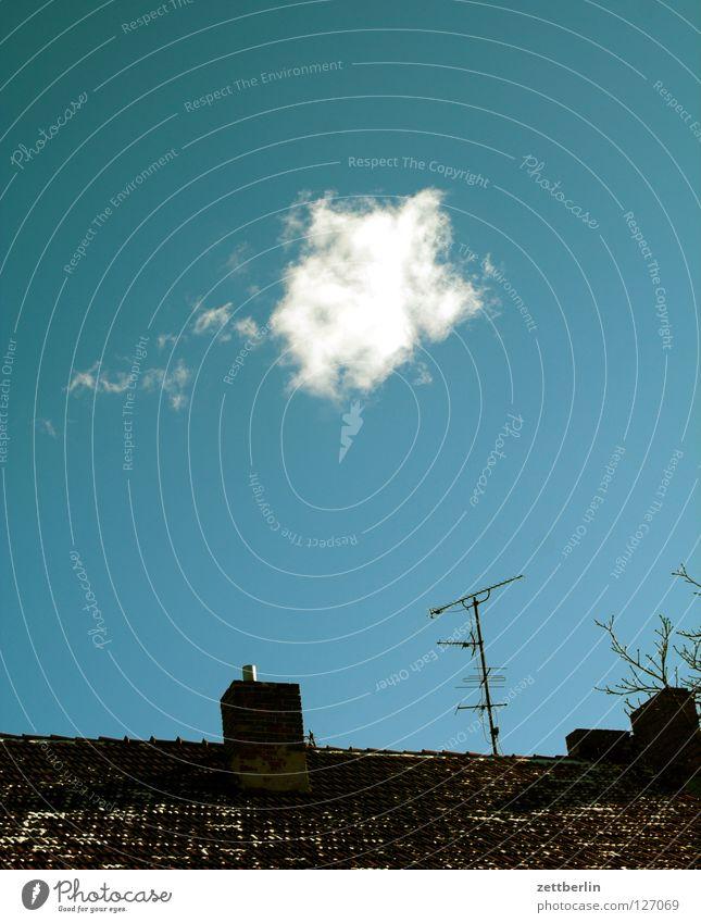 Wolke Wolken himmelblau Dach Schornstein Antenne Fernsehen Detailaufnahme Himmel Vergänglichkeit fernsehfunk fernsehgebühren