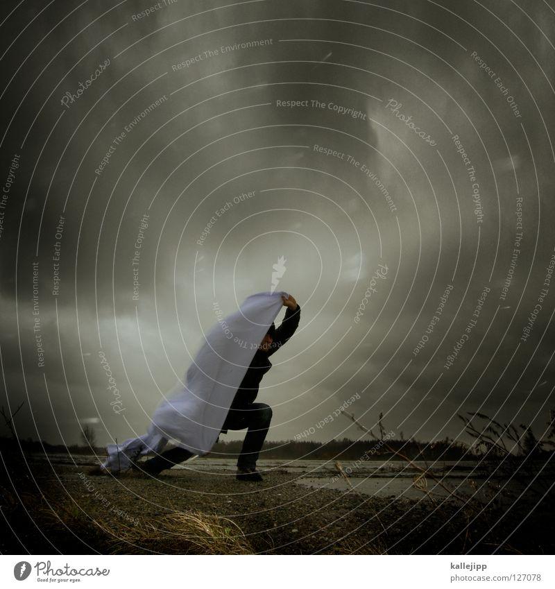 i can´t stand the rain Mensch Mann weiß Wolken Einsamkeit Landschaft Luft Regen Feste & Feiern Wetter Wind Klima Schilder & Markierungen Energiewirtschaft nass Beton