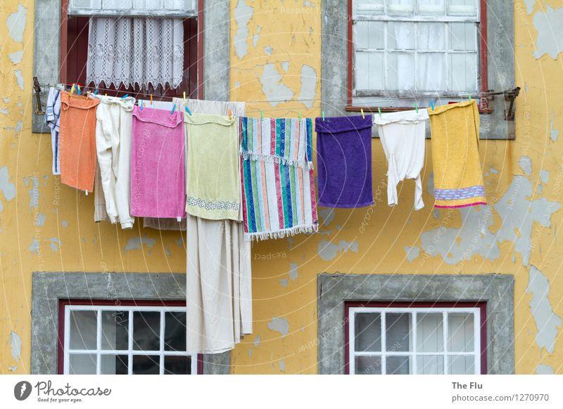 Nicht nur sauber, sondern rein Häusliches Leben Wohnung Hausfrau Porto Portugal Europa Altstadt Mauer Wand Fassade Fenster Bekleidung Unterwäsche Handtuch