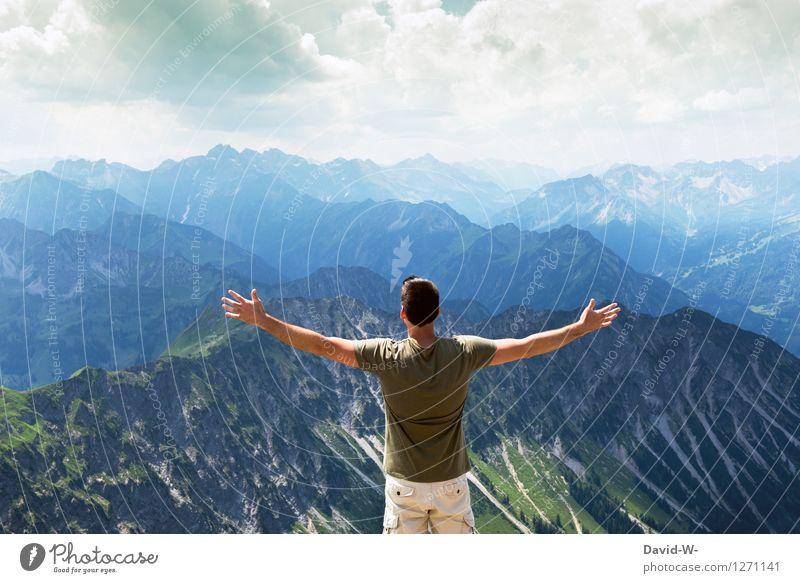 Gefühl der Freiheit sportlich Fitness Zufriedenheit Ferien & Urlaub & Reisen Tourismus Ausflug Abenteuer Ferne Berge u. Gebirge wandern Mensch maskulin