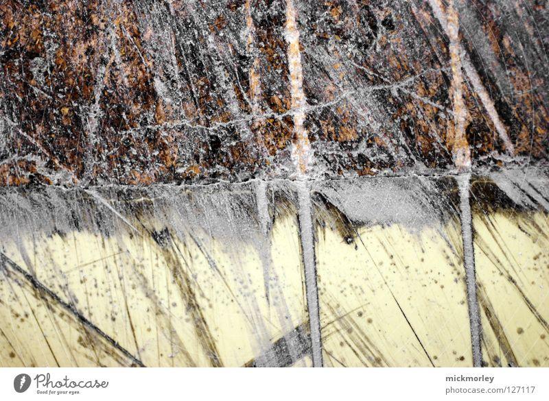 MickMorley #1 gelb grau Linie braun klein Suche Bodenbelag Spuren Riss Versuch Anstreicher fein Pinsel Schlucht Text gemalt