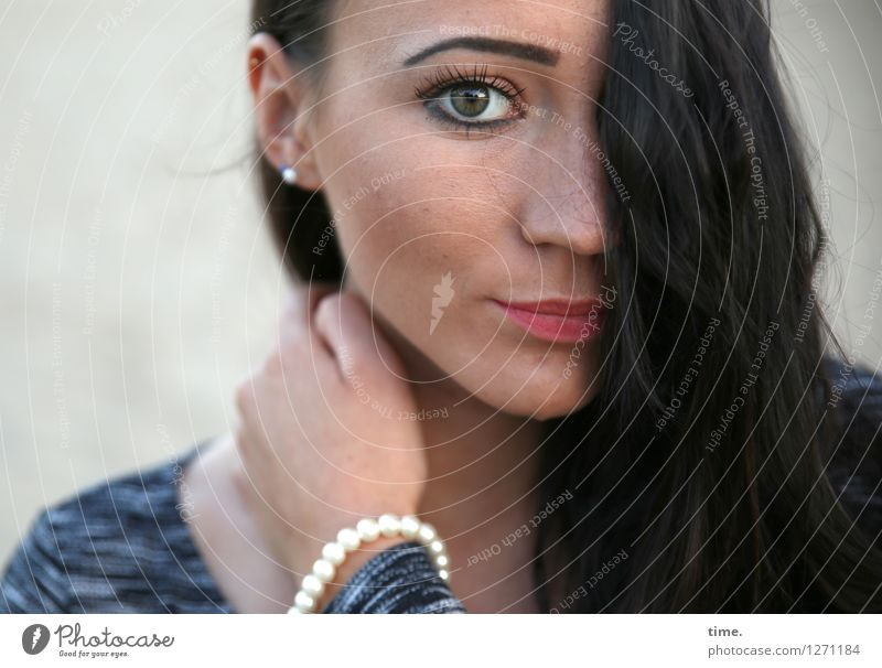 Nastya Mensch Frau schön Erwachsene feminin Denken Zeit warten beobachten Coolness Neugier Hoffnung Schutz Sehnsucht T-Shirt Konzentration