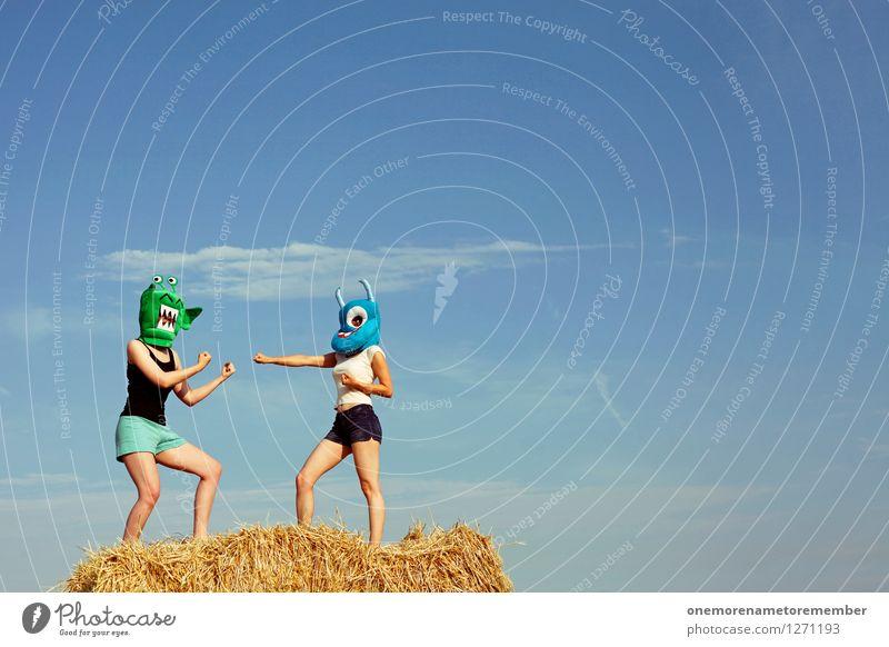NA KOMM DOCH! Freude Kunst ästhetisch Maske Konflikt & Streit Sportveranstaltung Kunstwerk Kostüm Blauer Himmel Karnevalskostüm Monster verkleiden spaßig Spaßvogel Außerirdischer Strohballen