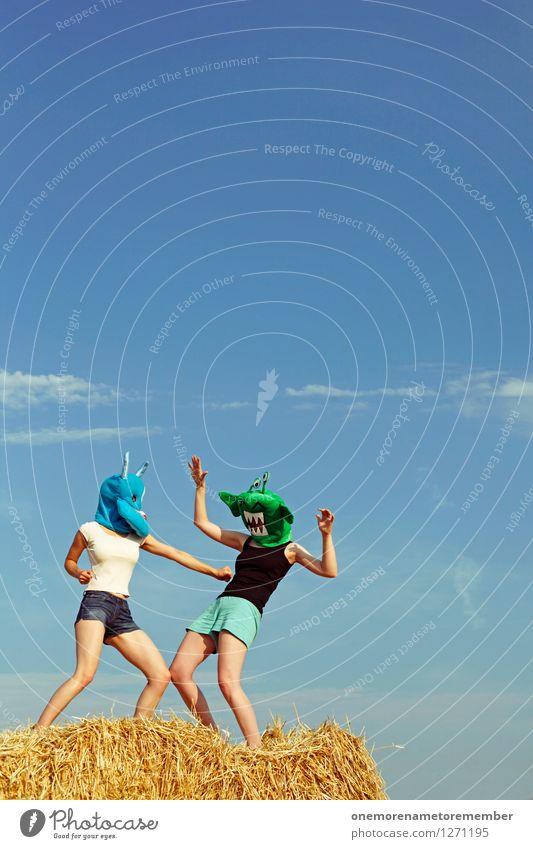 SPLAAAASH! blau grün Kunst ästhetisch Jugendkultur Gewalt Konflikt & Streit böse Kunstwerk Blauer Himmel Monster Kampfsport schlagen Außerirdischer außerirdisch