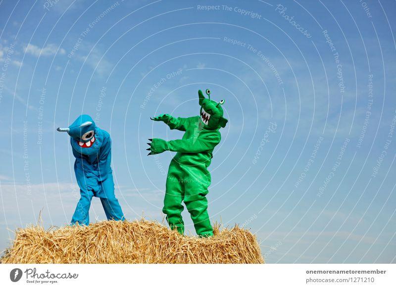 Lachflash blau grün Freude lustig lachen Kunst Freundschaft ästhetisch Karneval Kunstwerk Karnevalskostüm Gegenteil Monster spaßig Spaßvogel Außerirdischer